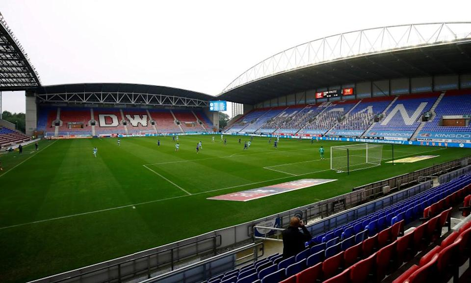 Wigan's DW Stadium is part of the package the administrators are trying to sell.