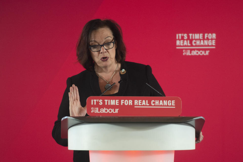 Lyn Brown, Labour Parliamentary Candidate for West Ham, speaks at a party event about the economy in central London.