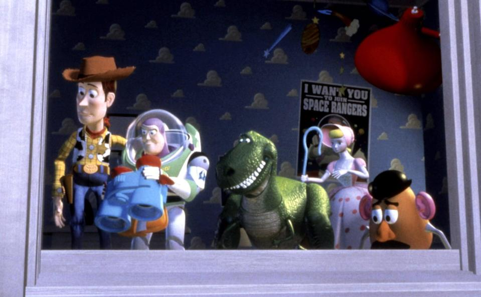 """<p><strong>What It's About:</strong> """"Welcome to an astonishing world where toys play while their owners are away. Meet Woody, Buzz and all their friends in an adventure filled with humor, heart and friendship.""""</p> <p><a href=""""https://www.disneyplus.com/movies/toy-story/1Ye1nzUgtF7d"""" class=""""link rapid-noclick-resp"""" rel=""""nofollow noopener"""" target=""""_blank"""" data-ylk=""""slk:Watch Toy Story on Disney+ here!"""">Watch <strong>Toy Story</strong> on Disney+ here!</a></p>"""