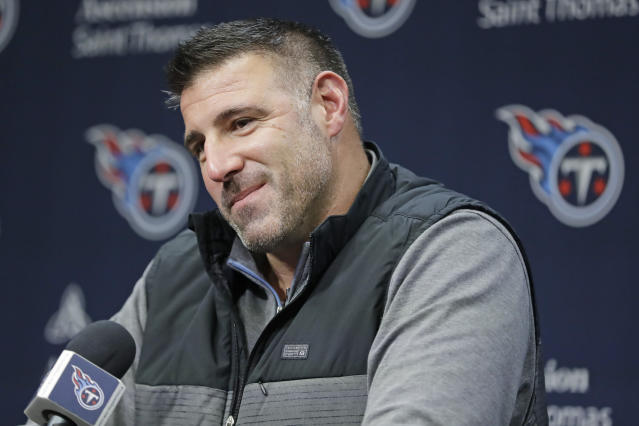 FILE - In this Jan. 20, 2020, file photo, Tennessee Titans head coach Mike Vrabel listens to a question at a press conference in Nashville, Tenn. The 2020 NFL Draft is April 23-25. (AP Photo/Mark Humphrey, File)