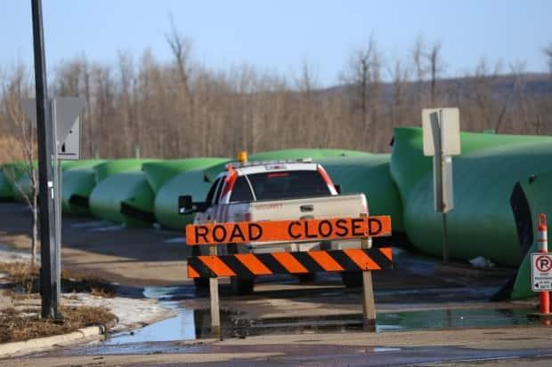 The municipality put up triple dams as temporary flood mitigation in 2021. (Jamie Malbeuf/CBC - image credit)