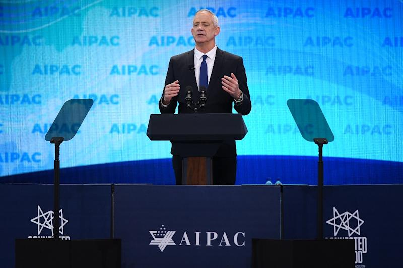 Israeli candidate Benny Gantz tells the US pro-Israel lobby AIPAC that he would not hesitate to use force on Iran