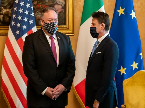 US Secretary of State Michael Pompeo with Italian Prime Minister Giuseppe Conte on Wednesday. (Photo credit: Pompeo Twitter)
