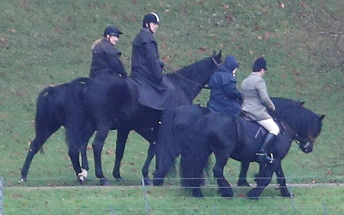 As he faced more humiliation and the loss of more of his public roles, the Duke of York was seen out riding with the Queen in Windsor Great Park - REUTERS