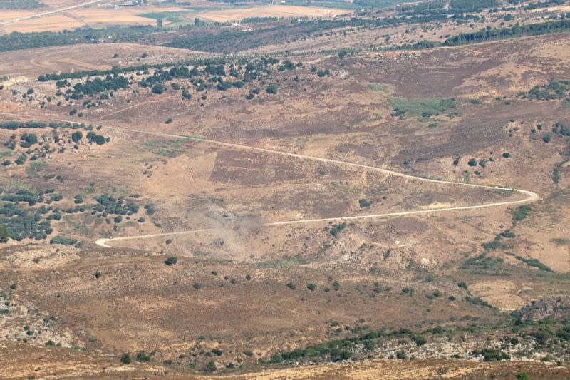 A view shows the damage in the aftermath of Israeli air strikes as seen from Marjayoun
