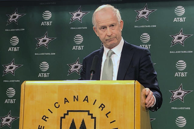 """The Dallas Stars general manager Jim Nill takes questions during a news conference after the team fired second-year coach Jim Montgomery on Tuesday, Dec. 10, 2019 for what the team called unprofessional conduct. Nill said Montgomery had acted inconsistently with """"core values and beliefs of the Dallas Stars and the National Hockey League."""" He did not elaborate. (AP Photo/ Schuyler Dixon)"""