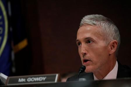 Rep. Trey Gowdy (R-SC) asks questions as former U.S. Secretary of Homeland Security Jeh Johnson testifies about Russian meddling in the 2016 election before the House Intelligence Committee on Capitol Hill in Washington