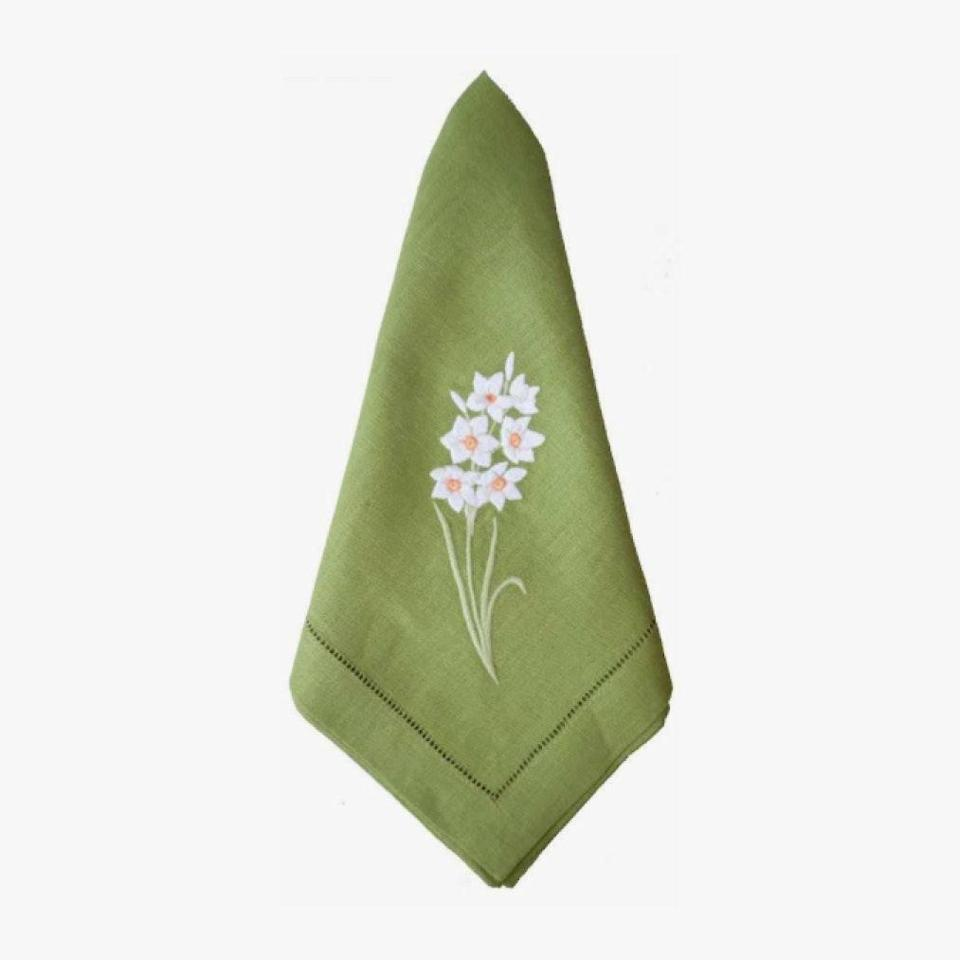 "These pretty daffodil napkins by Sferra will make even the simplest dinners at home feel special. $175, COURTLAND & CO.. <a href=""https://courtlandandco.com/collections/dinner-napkins/products/daffodil-dinner-napkins-green"" rel=""nofollow noopener"" target=""_blank"" data-ylk=""slk:Get it now!"" class=""link rapid-noclick-resp"">Get it now!</a>"