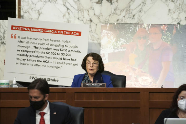 Sen.Dianne Feinstein, D-Calif., speaks during the confirmation hearing for Supreme Court nominee Amy Coney Barrett at the Senate Judiciary Committee on Capitol Hill in Washington, Monday, Oct. 12, 2020. (Greg Nash/Pool via AP)