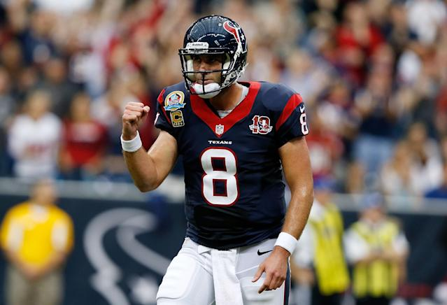 HOUSTON, TX - DECEMBER 16: Matt Schaub #8 of the Houston Texans celebrates a touchdown pass in the first half of the game against the Indianapolis Colts at Reliant Stadium on December 16, 2012 in Houston, Texas. (Photo by Scott Halleran/Getty Images)