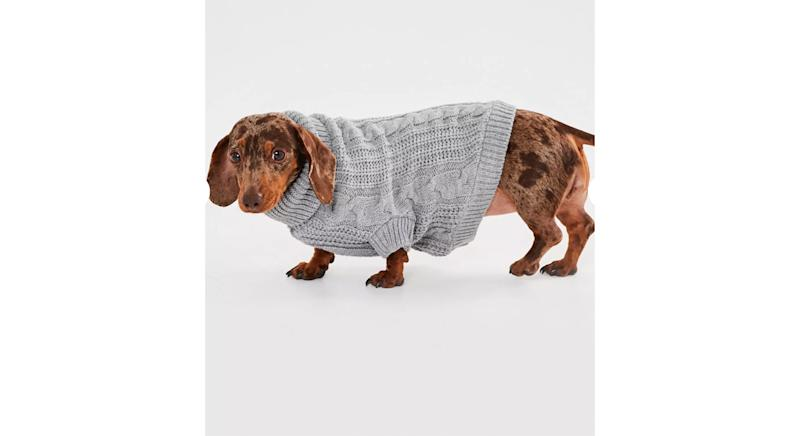 Grey Cable Knit Dog Jumper