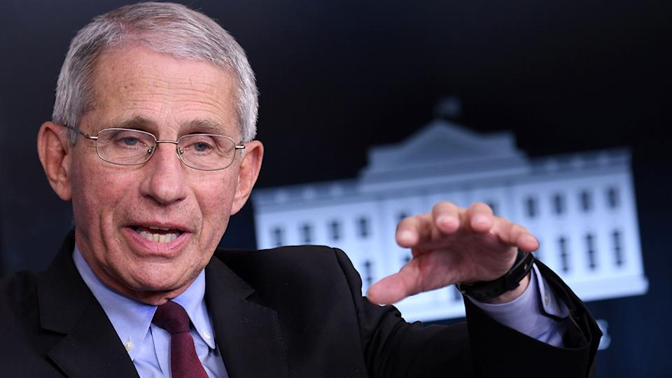 Anthony Fauci at an unscheduled briefing after a Coronavirus Task Force meeting at the White House