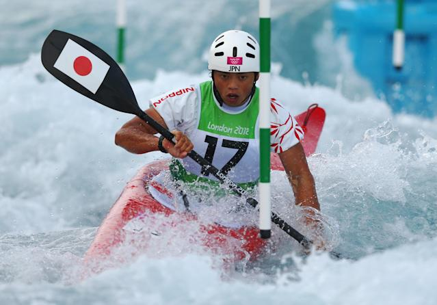 LONDON, ENGLAND - JULY 29: Kazuki Yazawa of Japan competes during the Men's Kayak (K1) Canoe Slalom heats on Day 2 of the London 2012 Olympic Games at Lee Valley White Water Centre on July 29, 2012 in London, England. (Photo by Phil Walter/Getty Images)