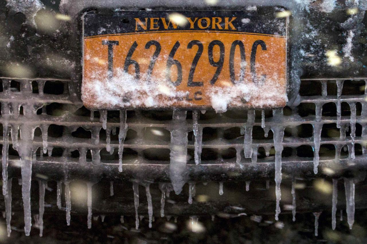 A snow and ice covered license plate is seen on a taxi in Times Square during a snow storm in Manhattan in New York January 21, 2014. A winter storm packing snow and Arctic cold slammed the northeastern United States on Tuesday, grounding 3,000 flights, shutting down governments and schools and making travel a potential nightmare for millions.REUTERS/Brendan McDermid (UNITED STATES - Tags: ENVIRONMENT TRANSPORT)