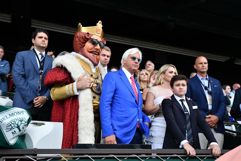 Trainer Bob Baffert and family before Justify wins the Belmont Stakes and Triple Crown at Belmont Park Racetrack on June 09, 2018 in Elmont, New York