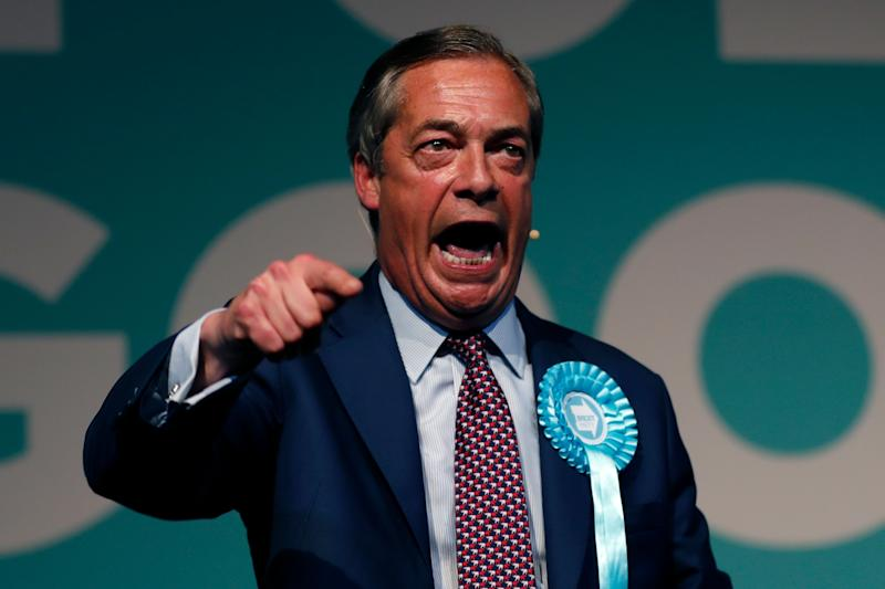 Brexit Party leader Nigel Farage delivers a speech during a Brexit Party rally in London, Tuesday, May 21, 2019. Some 400 million Europeans from 28 countries head to the polls from Thursday to Sunday to choose their representatives at the European Parliament for the next five years. Farage's Brexit Party is leading opinion polls in the contest for 73 U.K. seats in the 751-seat European Parliament. (AP Photo/Frank Augstein)