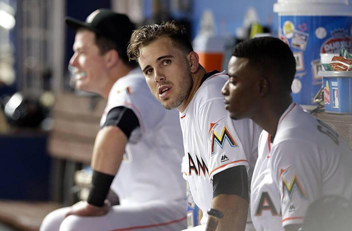 Miami Marlins' Jose Fernandez in the dugout during the first inning of the Marlins' game against the Washington Nationals at Marlins Park in Miami on Tuesday, Sept. 20, 2016.