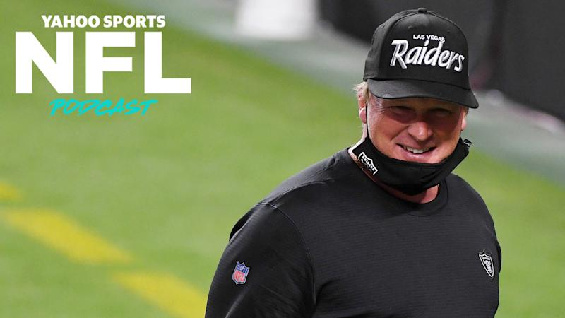 Las Vegas Raiders coach Jon Gruden was fined $100,000 for not wearing a mask properly on a Monday night game against the New Orleans Saints. (Photo by Ethan Miller/Getty Images)