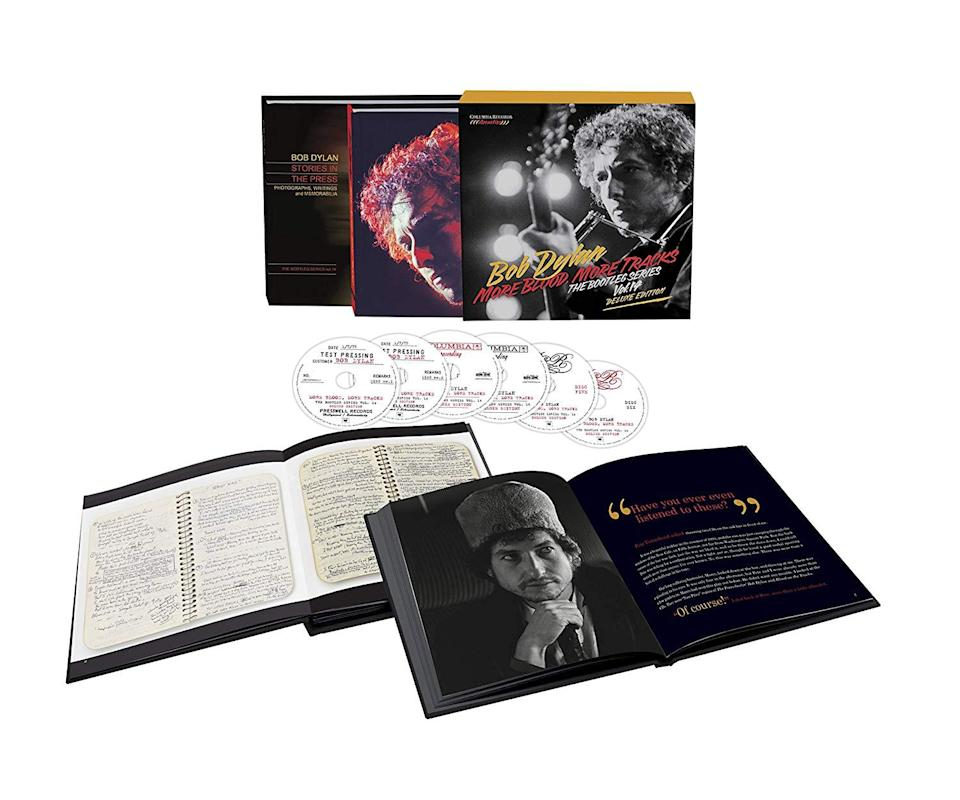 <p>The latest chapter in the Dylan Bootleg Series offers recordings from the six studio sessions that resulted in his career-defining 1975 masterpiece, Blood on the Tracks. While a few of the outtakes from the original New York sessions have been highly prized by bootleggers and collectors, most of these recordings have never been available in any format. The six-CD deluxe version includes the complete New York sessions in chronological order and remixed/remastered versions of the only recordings remaining from the Minneapolis Sound 80 sessions. </p>