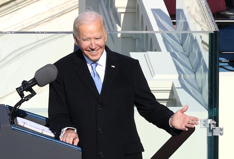 WASHINGTON, DC - JANUARY 20:  U.S. President Joe Biden reacts as he delivers his inaugural address on the West Front of the U.S. Capitol on January 20, 2021 in Washington, DC.  During today's inauguration ceremony Joe Biden becomes the 46th president of the United States. (Photo by Alex Wong/Getty Images)