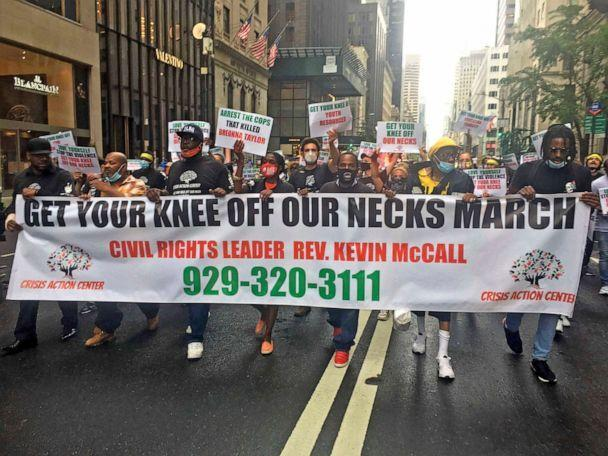 PHOTO: People walk during the  The 'Get Your Knee Off Our Necks' march and demonstration protesting police brutality and racial inequality on July 31, 2020 in New York City.   (Star Max via Getty Images, FILE)