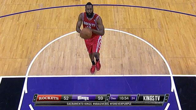 James Harden shoots free throws on one foot