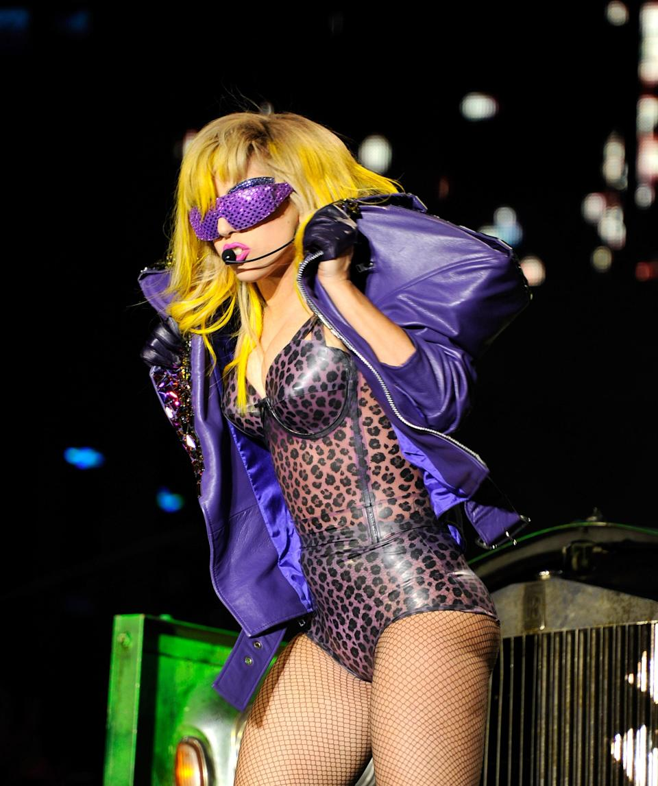 Only Gaga can own a stage in a purple leopard bodysuit and sunglasses that seem to — stylishly — obstruct her vision.