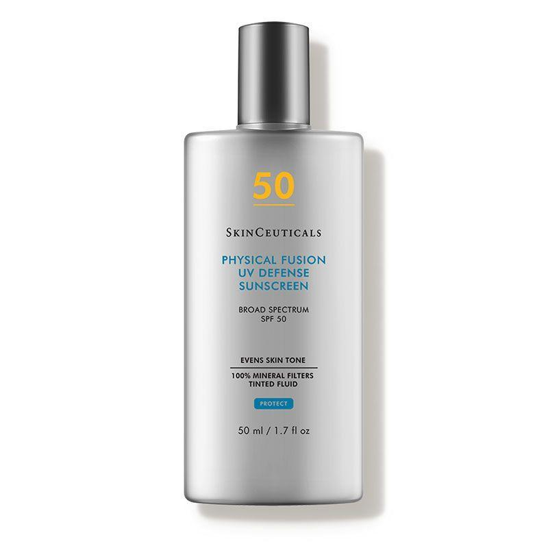 """<p><strong>SkinCeuticals</strong></p><p>dermstore.com</p><p><strong>$34.00</strong></p><p><a href=""""https://go.redirectingat.com?id=74968X1596630&url=https%3A%2F%2Fwww.dermstore.com%2Fproduct_Physical%2BFusion%2BUV%2BDefense%2BSPF%2B50_33348.htm&sref=https%3A%2F%2Fwww.marieclaire.com%2Fbeauty%2Fg35799175%2Fbest-zinc-oxide-sunscreens%2F"""" rel=""""nofollow noopener"""" target=""""_blank"""" data-ylk=""""slk:SHOP IT"""" class=""""link rapid-noclick-resp"""">SHOP IT</a></p><p>Sun damage can cause and exacerbate hyperpigmentation, and this product goes above and beyond to fix those woes. It has a light tint that blends easily into the skin, allowing for instant tone improvement, and long-term improvement with SPF 50.</p>"""