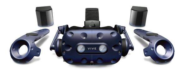 HTC Vive Pro headset, controllers, and lighthouses.