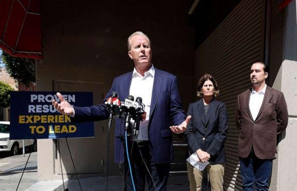 PHOTO: California Republican gubernatorial candidate Kevin Faulconer speaks during a news conference outside of a closed Walgreens store on July 27, 2021 in San Francisco, Calif. (Justin Sullivan/Getty Images)