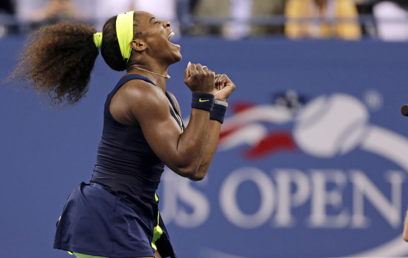 FILE - In this Sept. 9, 2012, file photo, Serena Williams reacts after beating Victoria Azarenka, of Belarus, in the championship match at the 2012 US Open tennis tournament in New York. The U.S. Open tennis tournament will leave CBS after nearly a half-century and move all TV coverage to cable starting in 2015 under an 11-year contract with ESPN, the U.S. Tennis Association and ESPN, announced Thursday, May 16, 2013. (AP Photo/Charles Krupa, File)