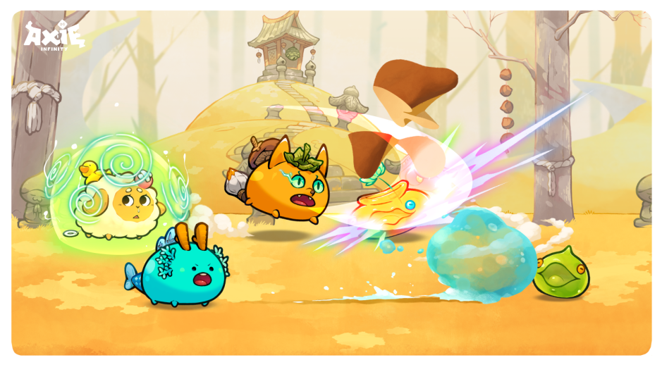 A picture of battling monsters from blockchain game Axie Infinity