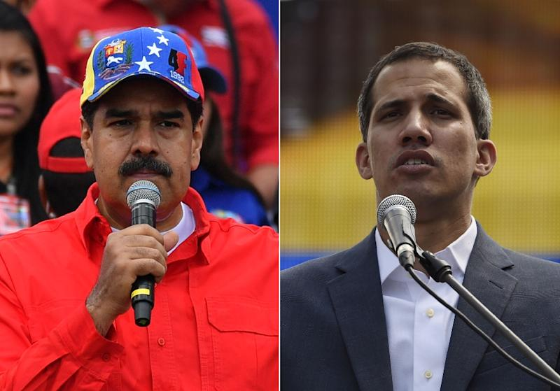 Maduro (L) and Guaido (R) are locked in a power struggle over the presidency, each backed by competing foreign powers (AFP Photo/Yuri CORTEZ, Juan BARRETO)