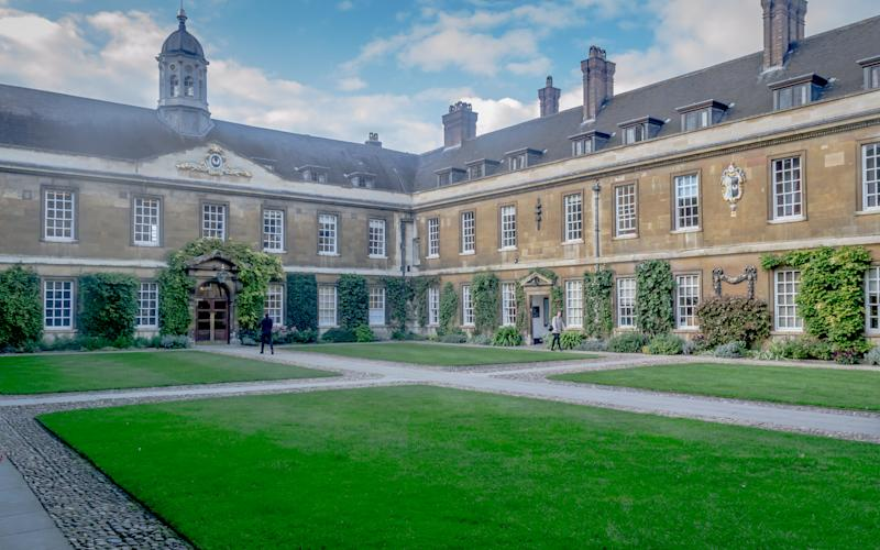 Trinity Hall College, Cambridge, United Kingdom - 23 Oct, 2016: A view garden and courtyard inside Trinity Hall College on a bright sunny day, Cambridge, Cambridgeshire, England, UK