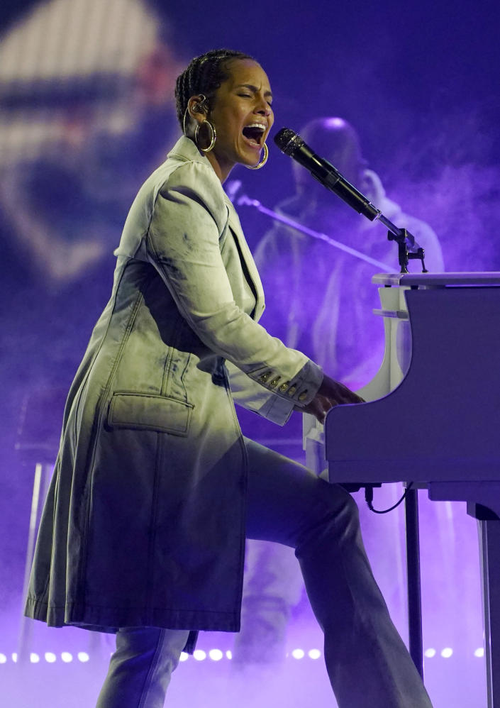 Alicia Keys performs at the Billboard Music Awards, Thursday, May 20, 2021, at the Microsoft Theater in Los Angeles. The awards show airs on May 23 with both live and prerecorded segments. (AP Photo/Chris Pizzello)