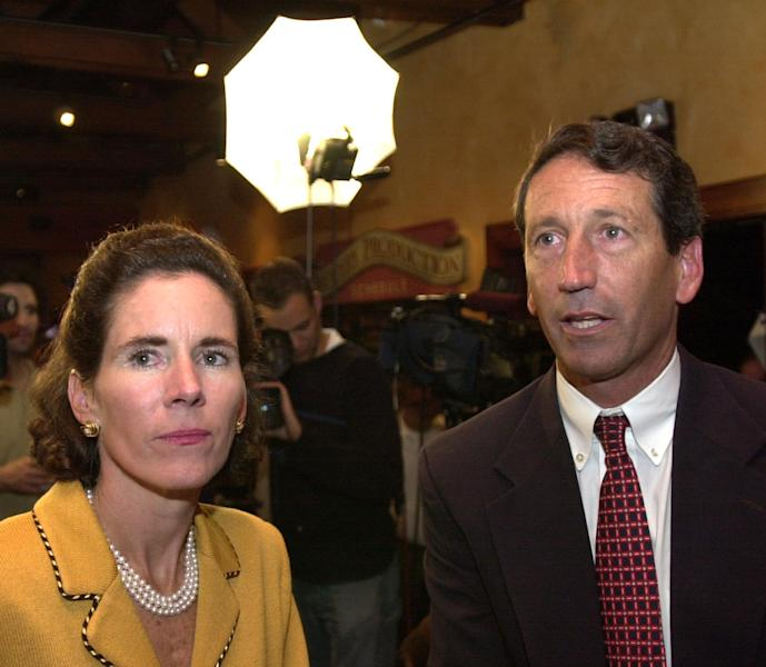 FILE - South Carolina Republican gubernatorial candidate Mark Sanford, and his wife, Jenny, watch returns at an election-night party in this Nov. 5, 2002 file photo taken at a restaurant in Mount Pleasant, S.C. Former South Carolina Gov. Mark Sanford must appear in court two days after running for a vacant congressional seat to answer a complaint that he trespassed at his ex-wife's home, according to court documents acquired by The Associated Press on Tuesday April 16, 2013. (AP Photo/Lou Krasky, File)