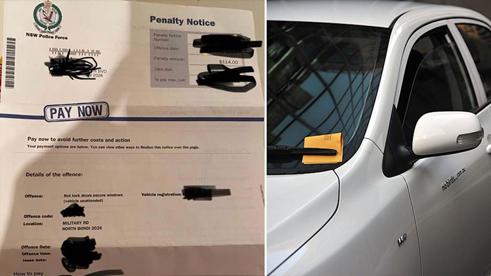 A Sydney driver got a fine for leaving their car window down in Bondi. Source: Facebook/AAP