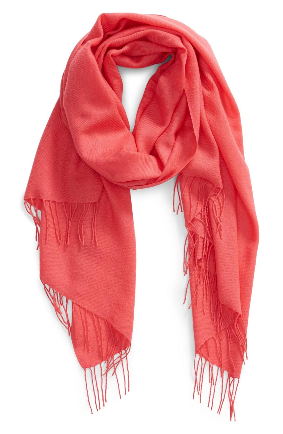 <p>This <span>Nordstrom Tissue Weight Wool &amp; Cashmere Scarf</span> ($99) can cover your neck, shoulders, or head. Plus, you can even use it as a blanket. It comes in a bunch of colors, but we love this coral shade.</p>