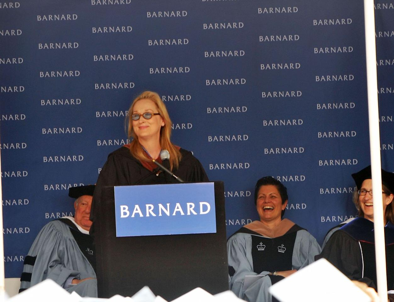 """<p>Streep has spoken at several colleges throughout her career, but one speech that stands out is her <a href=""""https://www.graduationwisdom.com/speeches/0069-streep.htm"""" target=""""_blank"""">commencement speech at Barnard College</a> in 2010. It was at once inspiring, motivational, and funny, with memorable quotes such as: """"You know you don't have to be famous. You just have to make your mother and father proud of you and you already have.""""  </p>"""