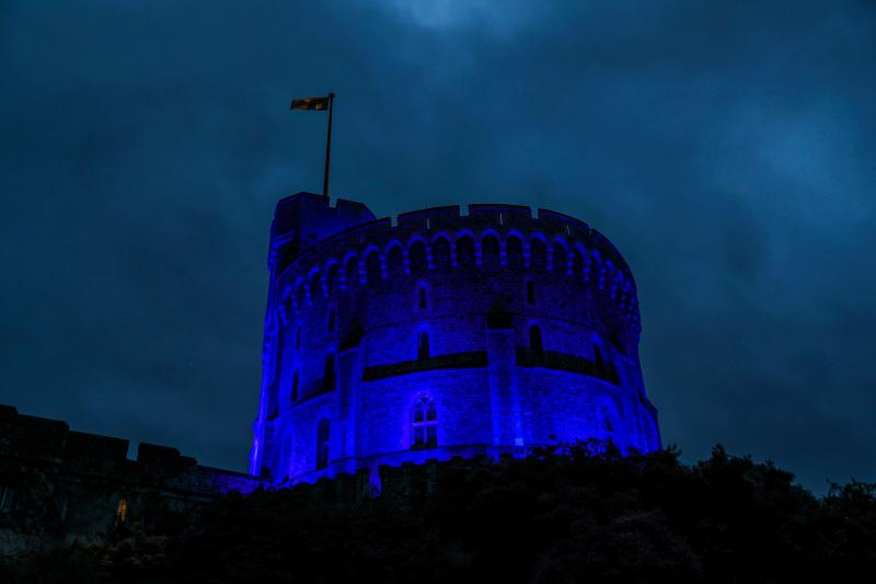 Windsor Castle was illuminated with blue light to mark the 72nd anniversary of NHS on July 5. (Photo: Steve Parsons / POOL / AFP) (Photo by STEVE PARSONS/POOL/AFP via Getty Images)