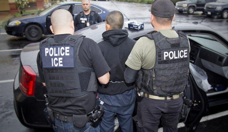 A photo released by U.S. Immigration and Customs Enforcement shows foreign nationals being arrested on February 7, 2017 during a targeted enforcement operation conducted by U.S. Immigration and Customs Enforcement (ICE) (Charles Reed/U.S. Immigration and Customs Enforcement via AP)