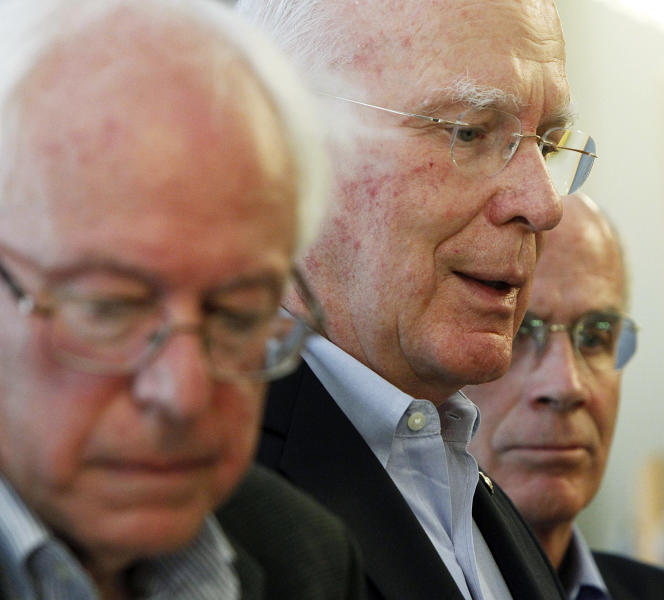 Sen. Patrick Leahy, D-Vt., center, Sen. Bernie Sanders, I-Vt., left, and Rep. Peter Welch, D-Vt., hold a news conference on Monday, July 2, 2012, in Montpelier, Vt. Vermont's three member congressional delegation gathered at the Statehouse to talk up what they see as the benefits in the federal farm bill that passed last week. (AP Photo/Toby Talbot)