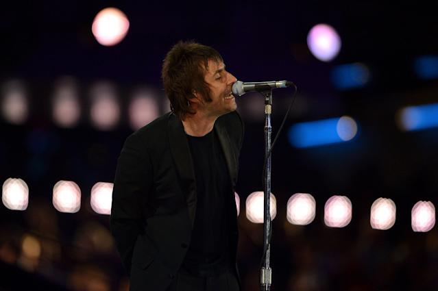 LONDON, ENGLAND - AUGUST 12: Liam Gallagher performs during the Closing Ceremony on Day 16 of the London 2012 Olympic Games at Olympic Stadium on August 12, 2012 in London, England. (Photo by Jeff J Mitchell/Getty Images)