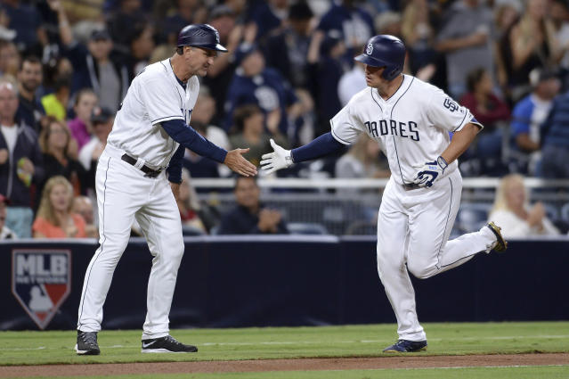 "<a class=""link rapid-noclick-resp"" href=""/mlb/players/9889/"" data-ylk=""slk:Hunter Renfroe"">Hunter Renfroe</a> (right) was hot to trot in Wednesday's slugfest against Arizona (AP)"