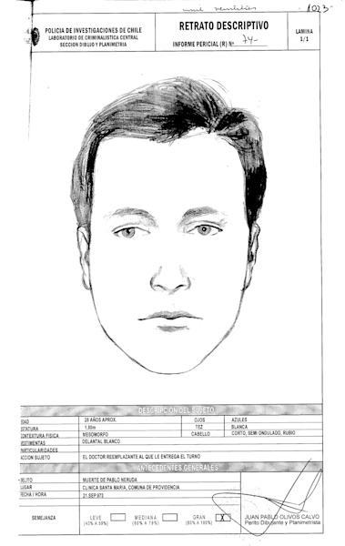 "This drawing done by Chile's police and released by Communist Party attorney Eduardo Contreras on Monday, June 3, 2013, shows a representation of the face of Dr. Price, who allegedly attended Pablo Neruda at the hospital when he died forty years ago. Judge Mario Carroza is formally investigating the cause of death of the Nobel Prize-winning poet. A judge ordered the police sketch based on the collections of Dr. Sergio Draper, a key witness who attended Neruda at the hospital. Draper said in the 1970s that he was at Neruda's side when he died. But Draper recently told the judge a different story — that a ""Dr. Price"" took over Neruda's care just before he died, and disappeared shortly thereafter. The police notes below the sketch describe the subject as about 28 years old, with blue eyes, white skin and short blonde. (AP Photo/Chile's Police)"
