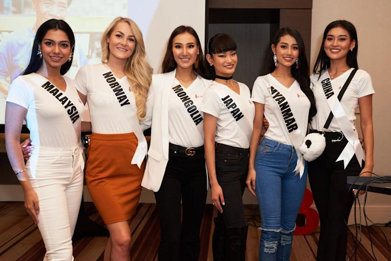 Miss Myanmar Swe Zin Htet (second from left) with other Miss Universe contestants