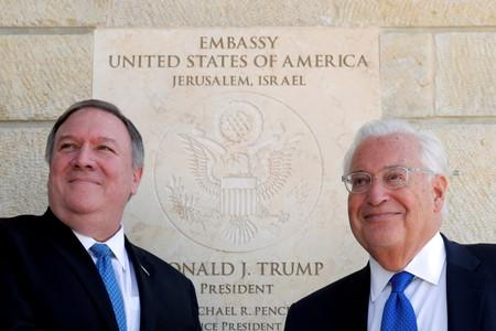 FILE PHOTO: U.S. Secretary of State Mike Pompeo and U.S. Ambassador to Israel David Friedman stand next to the dedication plaque at the U.S. embassy in Jerusalem