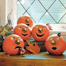 """<p>Look out, because these perky pumpkins are looking back! Cut eyeholes in your pumpkin, and attach plastic eyeballs (available at party supply stores) inside the sockets to give the face a spooky stare. </p><p><a class=""""link rapid-noclick-resp"""" href=""""https://www.amazon.com/Halloween-Realistic-Plastic-Eyeballs-Decoration/dp/B08CVSF3NJ?tag=syn-yahoo-20&ascsubtag=%5Bartid%7C10070.g.950%5Bsrc%7Cyahoo-us"""" rel=""""nofollow noopener"""" target=""""_blank"""" data-ylk=""""slk:SHOP PLASTIC EYEBALLS"""">SHOP PLASTIC EYEBALLS</a></p>"""