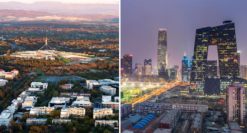 A split picture of Canberra (left) and Beijing (right). Source: Getty