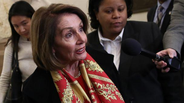 PHOTO: Speaker of the House Nancy Pelosi talks to members of the press about President Donald Trump and the State of the Union speech while she returns to the U.S. Capitol on Jan. 23, 2019 in Washington. (Win McNamee/Getty Images)